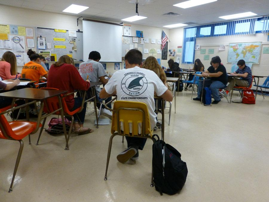 Mrs. Colton's honors history students working hard.