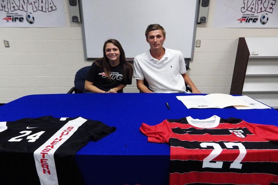 Soccer stars sign to future school