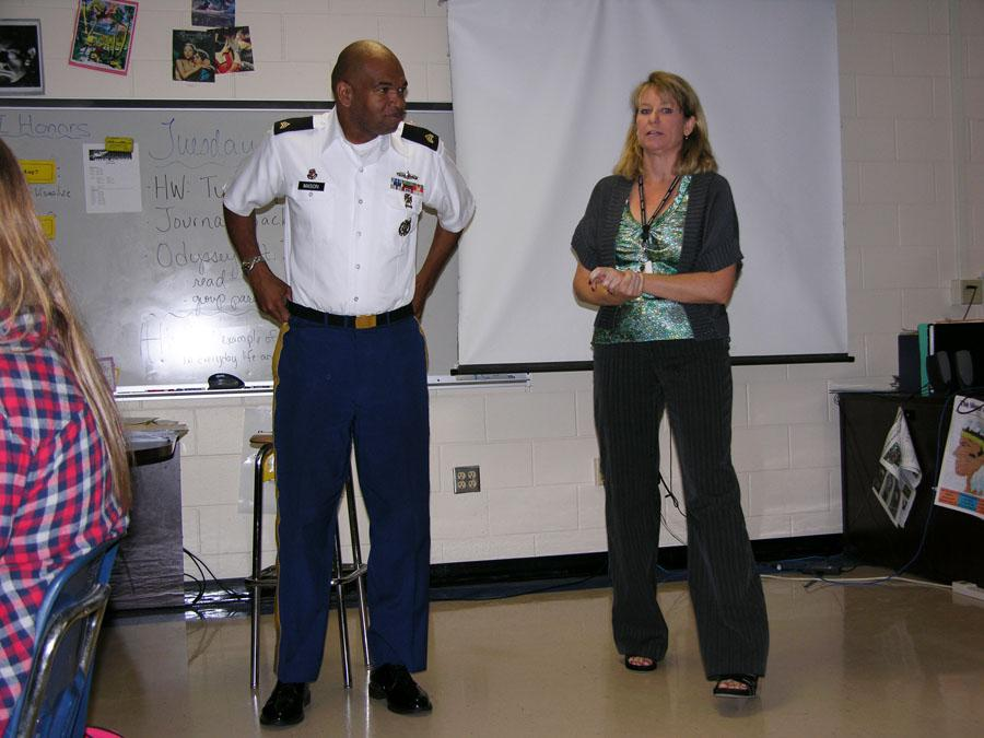 Sergeant Fitzgerald Mason gives a presentation to Ms. Iovino's class during a previous year's Great American Teach-in