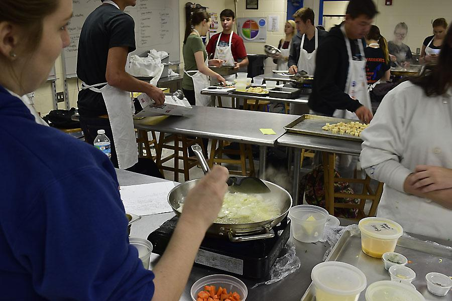 Students make stuffing in Culinary III on Thursday.