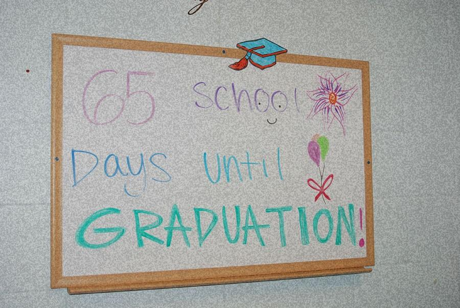Ms. Nolan makes a sign in student services to let seniors know how much longer it is till graduation.