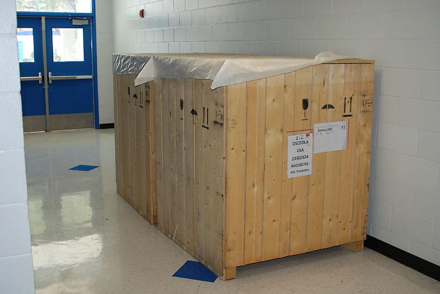 This box contains the new equipment that will be used for years by Osceola's engineering students.