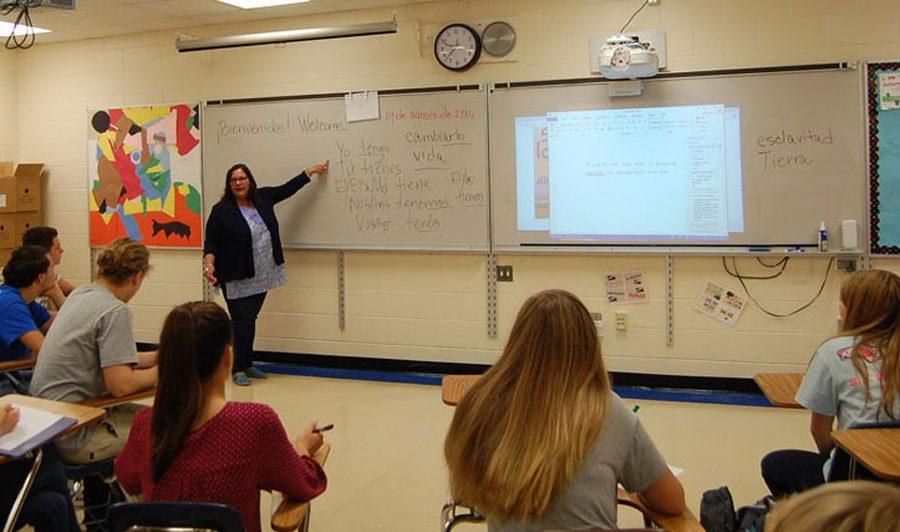 The new world language teacher Ms. Lopez instructing her class.
