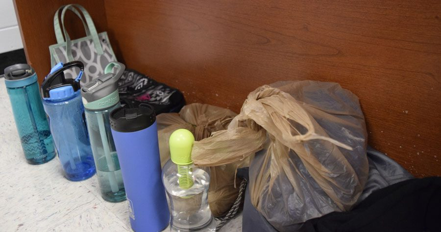 Water bottles and lunch boxes are some of the current items in student services' lost and found.