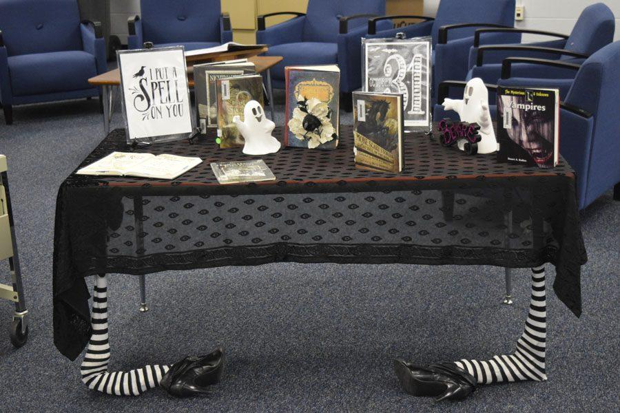 Osceola High's library is decorated for the Halloween season.