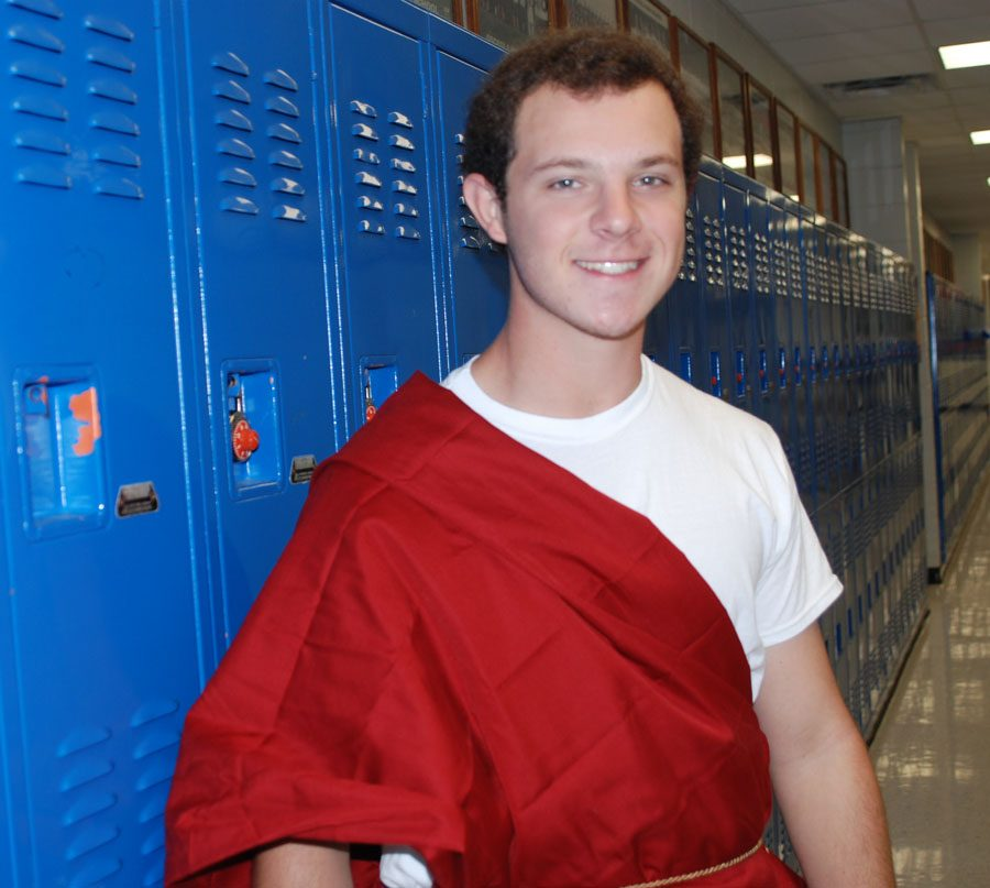 Nate Diakos shows off his school spirit during Homecoming week.