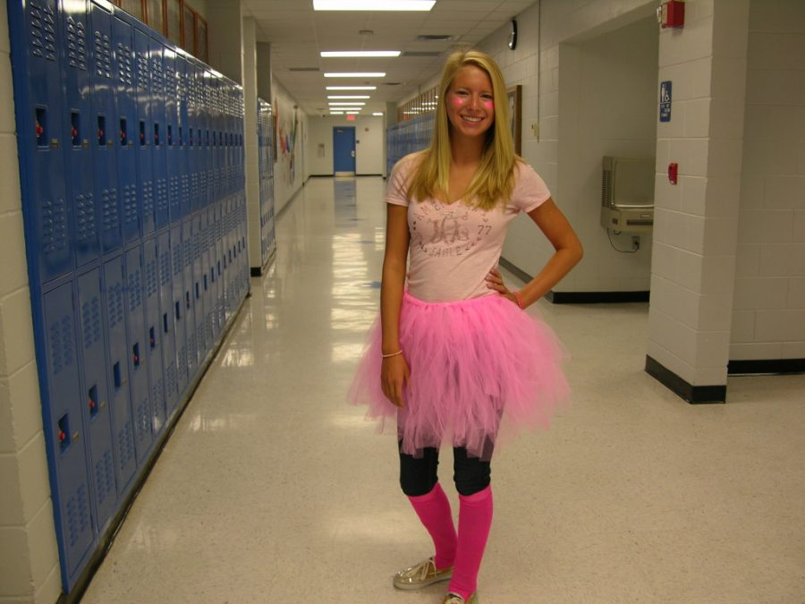 Pink Out Day will be October 26th.  This picture is of a student in 2013 who dressed in a pink outfit, showing school spirit.