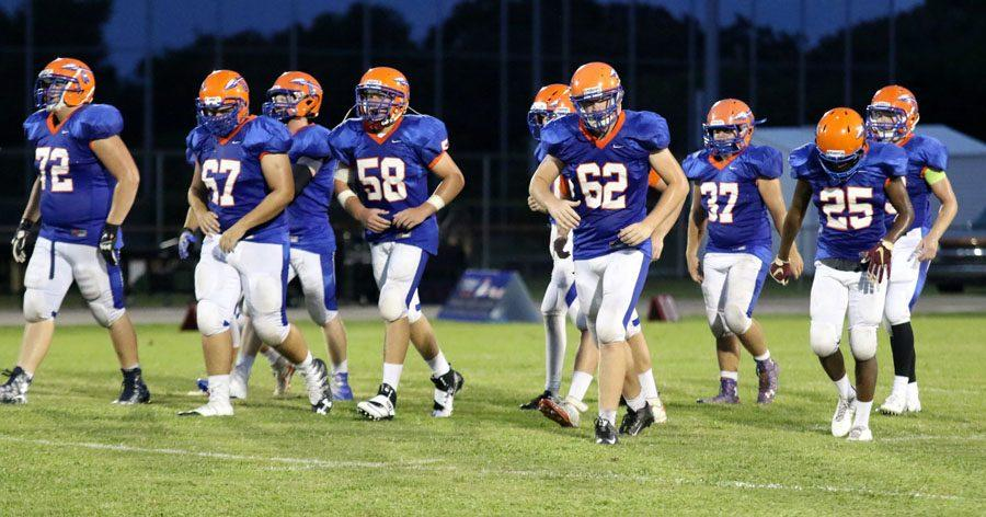 The offense gets ready for the next play to be called at the game against Seminole.