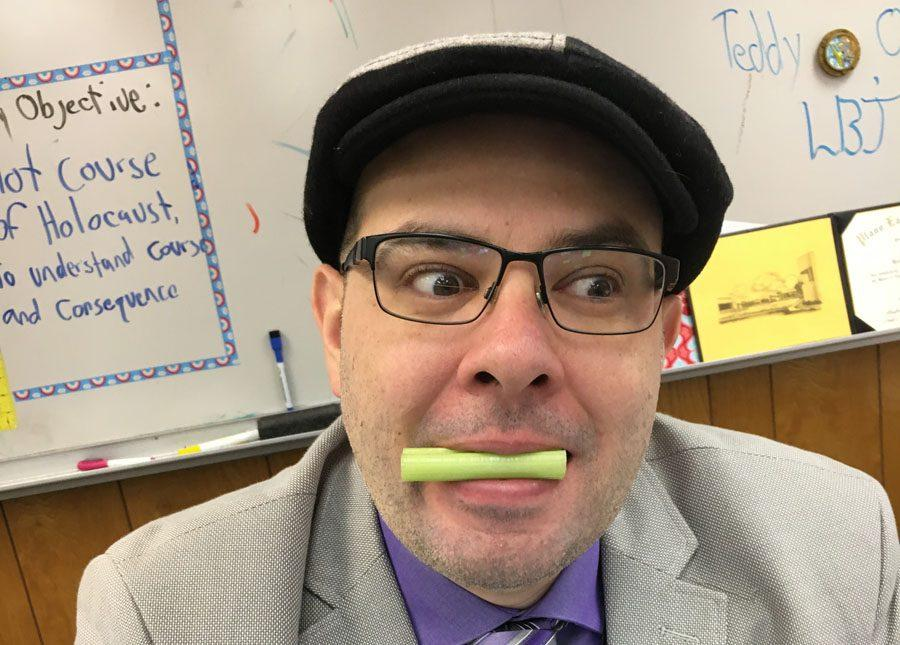 Mr. Yarboroughs New Years resolution is to eat healthy.