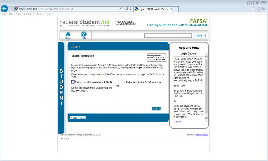 This is website where students can print and file for FASFA.