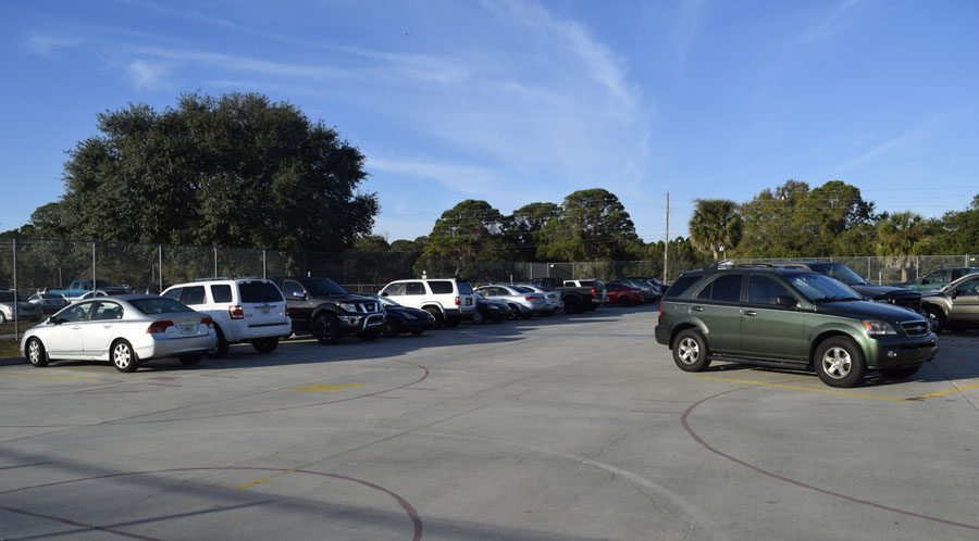 The sophomore student parking lot is full.