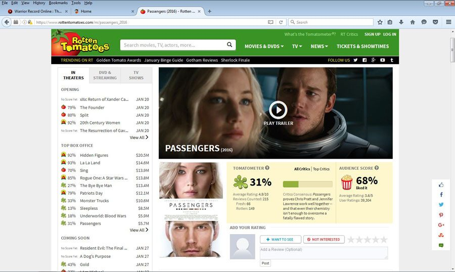 Rotten Tomatoes gave Passengers a 31% rating.