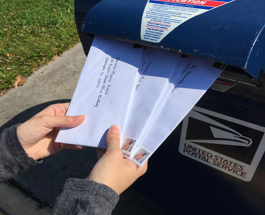 I mailed letters to Senator Marco Rubio, Senator Bill Nelson, and The Honorable Charlie Crist, voicing my opinion on certain issues.