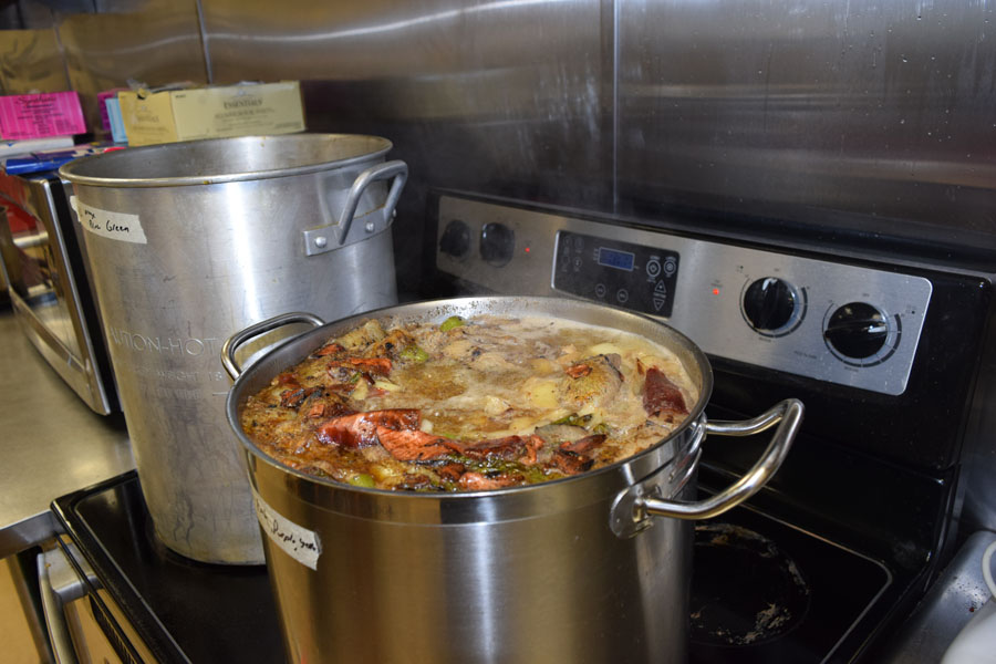 Culinary 1 students begin to learn how to make vegetable-based broth.