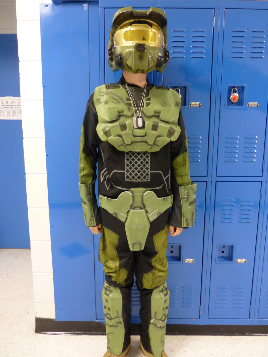 A student dressed up as