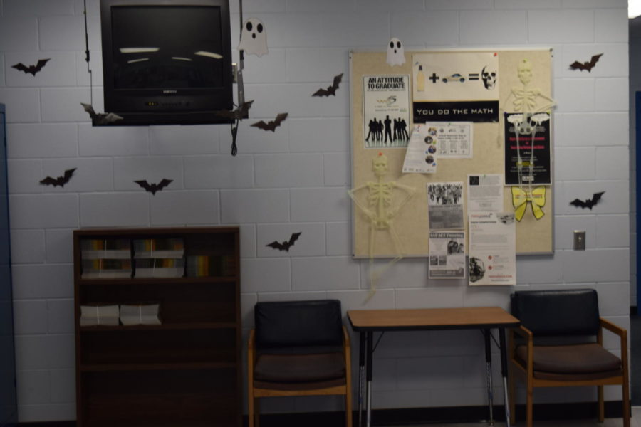 Mrs. Nolan decorates student services every year because