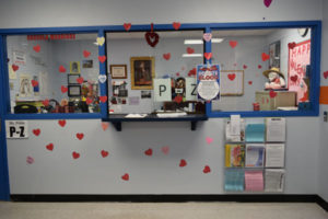 Valentine's Day decorations brighten the office