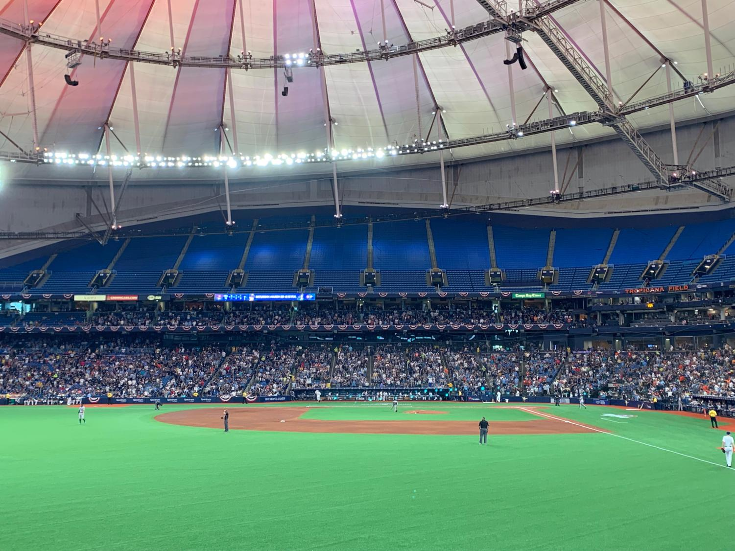The Rays added lights to the top of the stadium to make it a fun seventh inning stretch.
