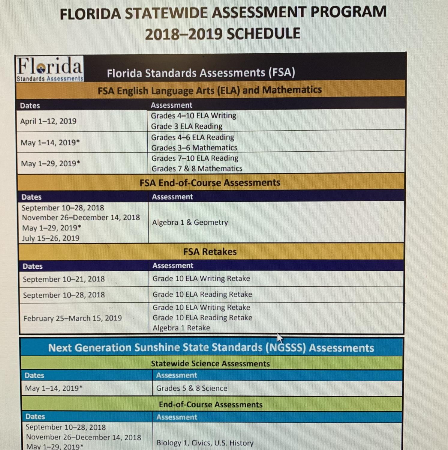 Pinellas County School Boards releases exam dates.