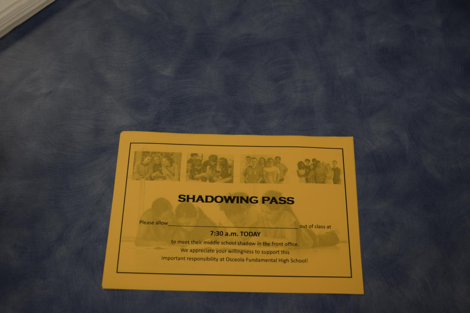 Students get this shadow pass when they have a shadow.