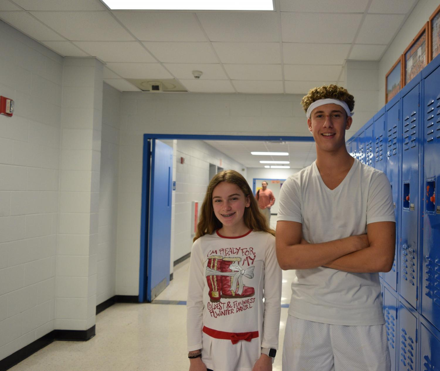 Two students get into the spirit by dressing up.