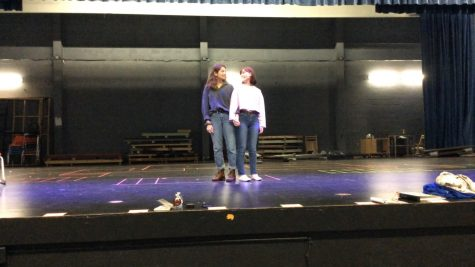 "Seniors Carly Davenport and Sophia Paige rehearsed ""Side Show"" before spring break.  They will miss out on performing the show due to the school"