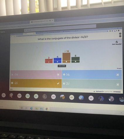 Students are practicing their math by playing kahoot.