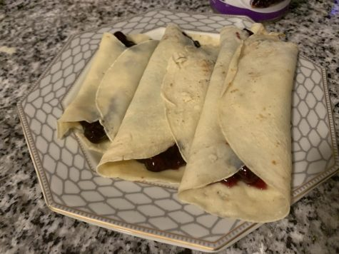 Finished product of traditional blintzes.