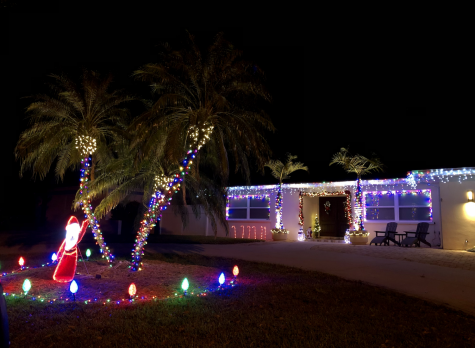 Many houses are decorated for the holidays.