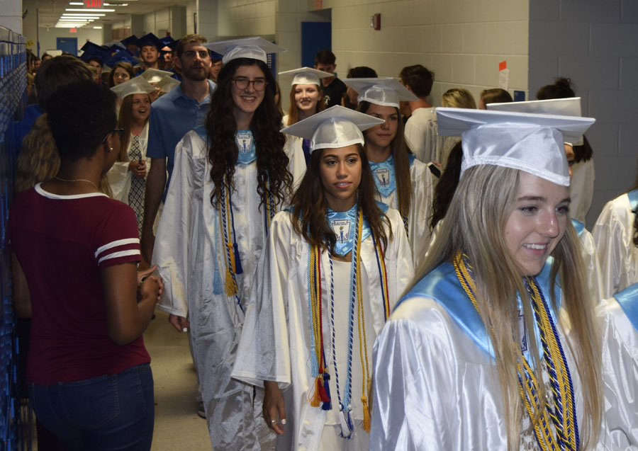 April of 2017, seniors marched down the hall in their caps and gowns.