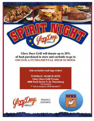 Spirit night at Glory Days