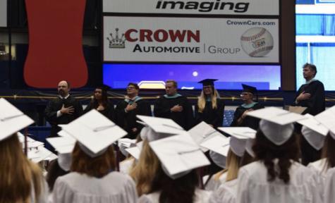 Seniors sing the Alma Mater at every graduation.