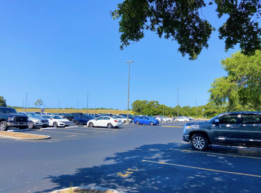 The student parking lot has plenty of room Monday during 4th period as seniors wrap up their year in preparation for graduation.